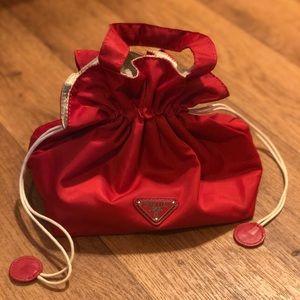 Red Drawstring Prada Mini Bag